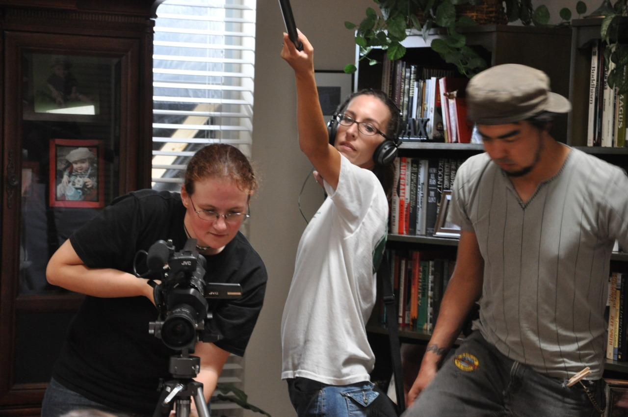 Sound and vision.   On the left is me (Lori) the writer / director / cinematographer / editor.  In the middle is Janine, my boom op / sound recordist. Next to her is Wheat, my lighting guy and assistant camera.