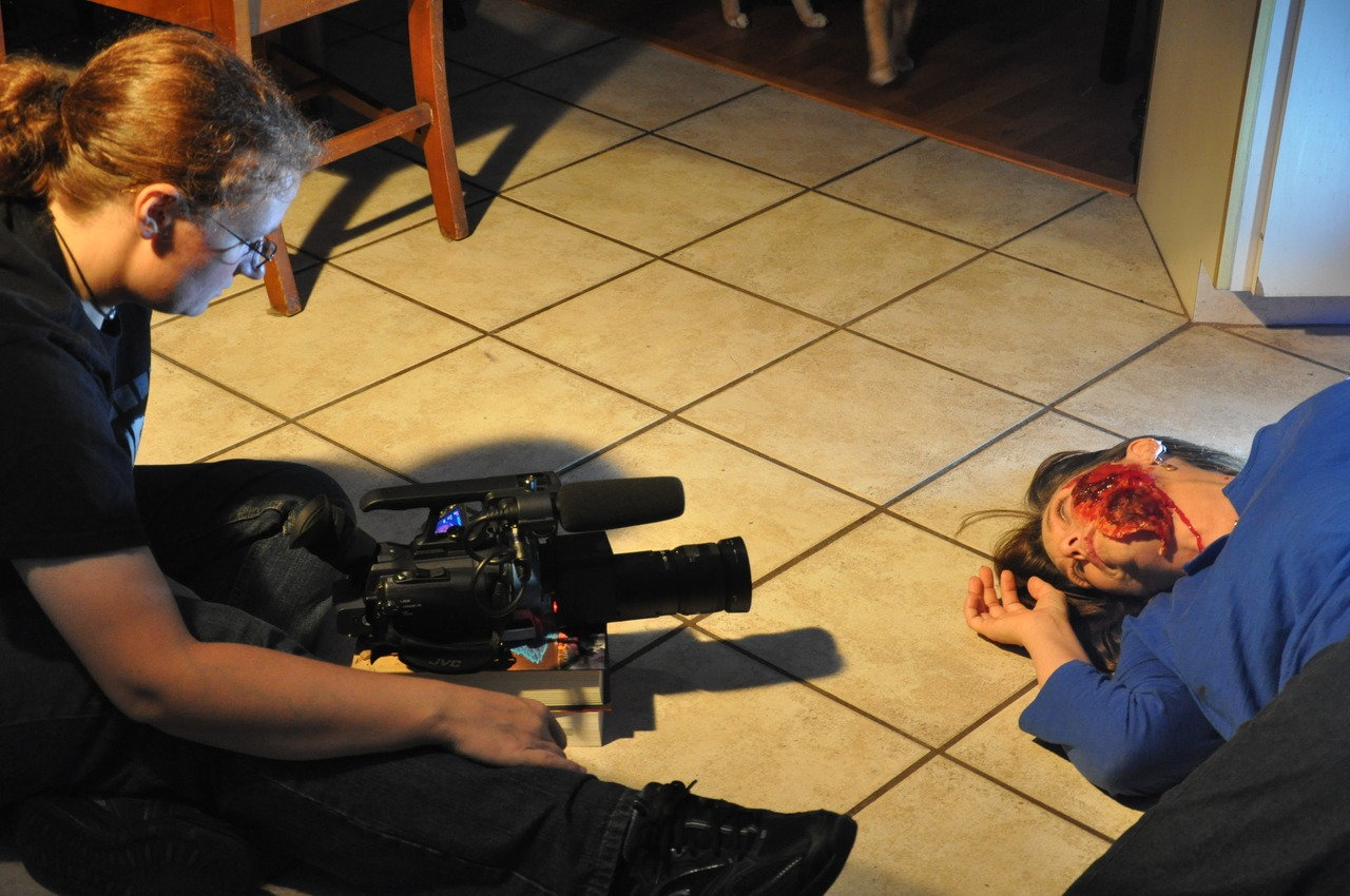 In this photo, we're filming Laura D'Anieri's death and resurrection.   We wrapped principal photography on Stella Buio last night! This has been my most complicated project to date with some unanticipated things, but that's what filmmaking is about, right? Last night's shoot went off beautifully and I'm really looking forward to launching myself into post!   Photo credit: Shawn Bowen