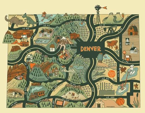 Colorado Map Art.Kenny Be Guide To Colorado Kenny Be Art