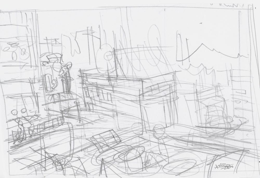 Original sketch to conceptualize a view of many Denver restaurants from the rooftop deck of a Denver restaurant.