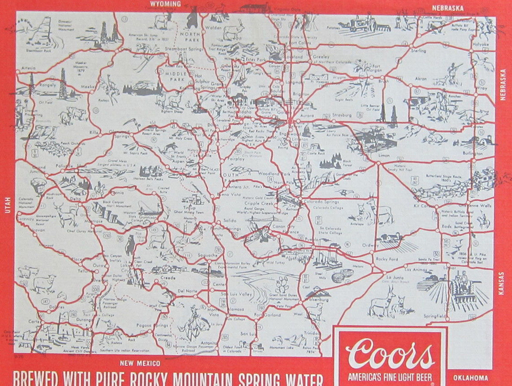 The Coors Colorado souvenir placemat map from September 1976.