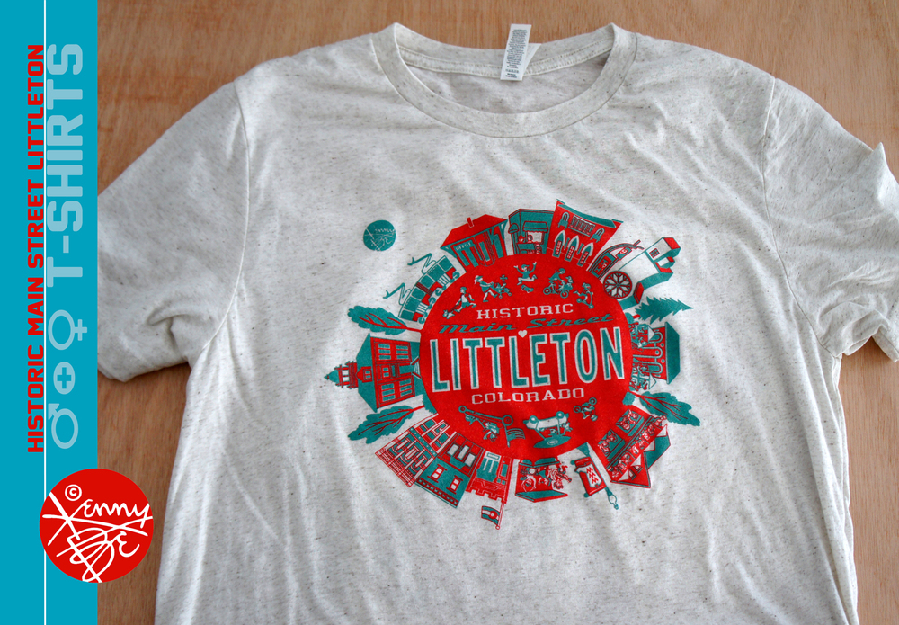 Historic Main Street Littleton, Colorado T-shirt by Kenny Be.