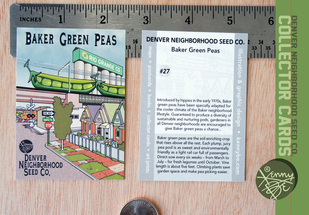Baker Green Peas Collector Card #27, front and back.