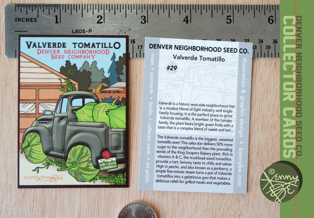 Valverde Tomatillo Collector Card #29, front and back.