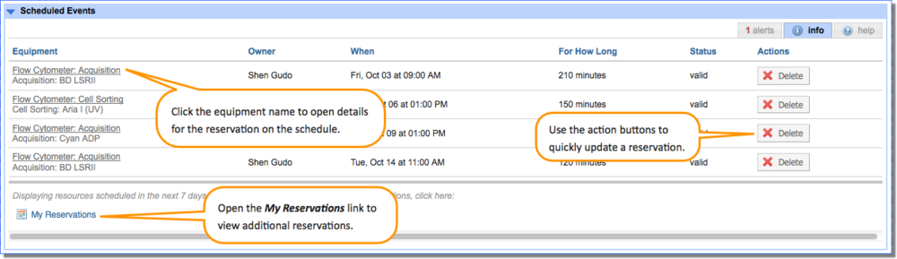 Figure 4.  View a summary of future reservations on the  Info    tab of the  Scheduled Events    panel.