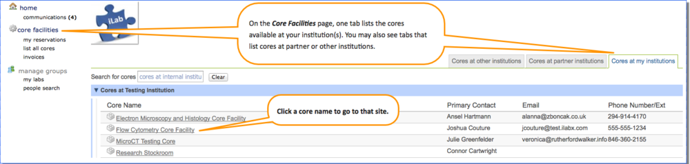 Figure 1.  To navigate to a core site: open the core facilities page from the left menu; browse the list to find a core; click the core name to go to their site.