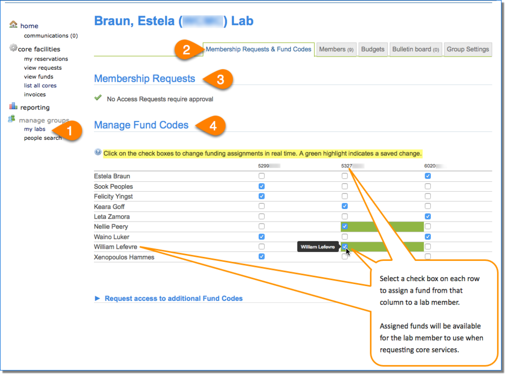 Figure 3.  1) Click my labs to open lab settings.  2) Open Membership Requests & Fund Codes tab.  3) Researchers awaiting lab membership can be approved in the Membership Requests section.  4) Use the check boxes to assign fund numbers to lab members in the Manage Fund Codes section.