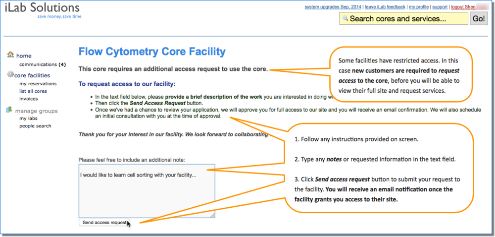 Figure 2.  When you land on a core site with restricted access, type a note containing requested information, then click Send access request to notify the core or your request to access their site.