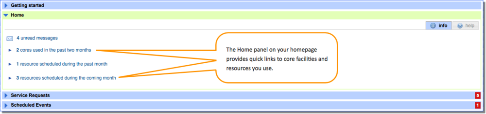 Figure 2 : Home Panel provides quick links to core facilities and resources.