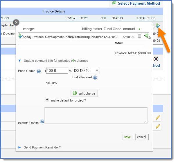 Figure 3: Now click the dollar sign icon within the invoice to update payment information.