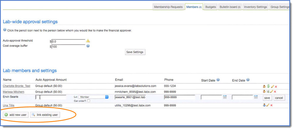 Figure 1 : From the  Members  tab, you may add a new user and link an existing user.