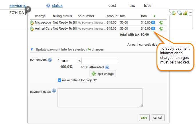 Figure 3: Be sure to check the box for each charge to which you want to apply the payment info.