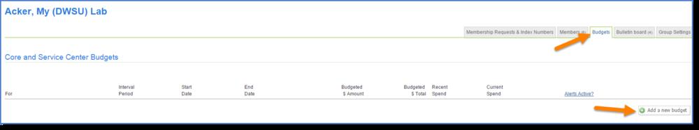 Figure 1: Click Add a new budget.