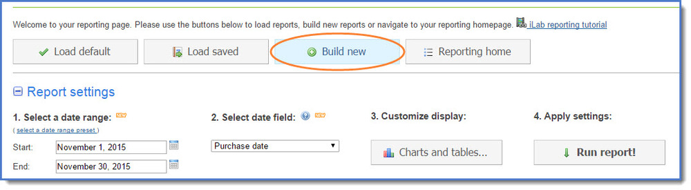 Figure 10: Build a new report.