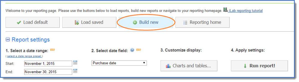 Figure 10: Build a new report.
