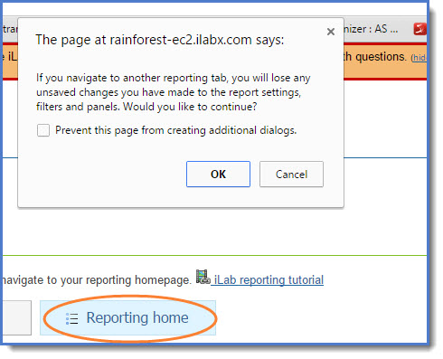 Figure 11 : When you click  Reporting Home,  you will receive  warning message.