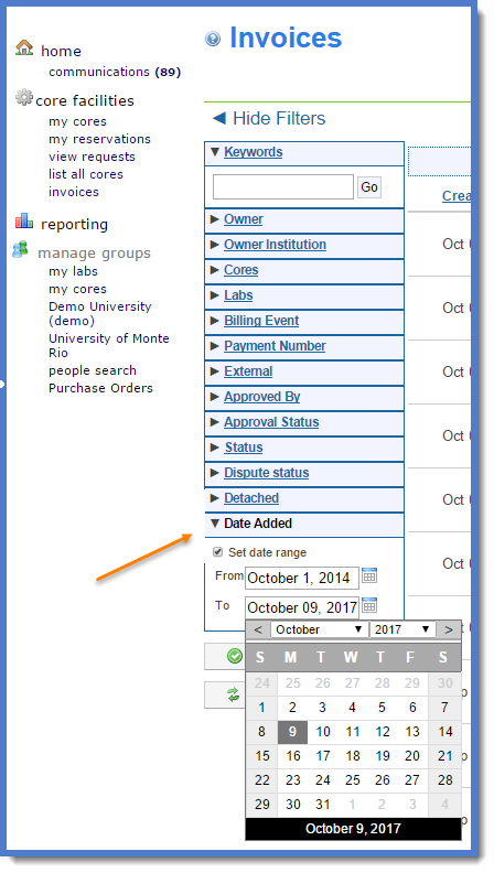 Figure 3 : Select the  Date Added  filter to search past invoices.