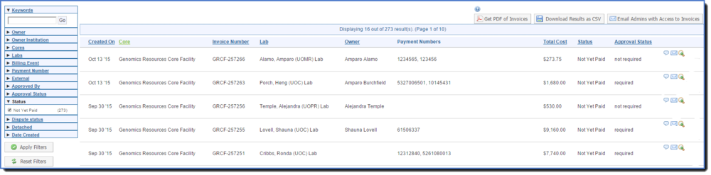 Figure 4 : Viewing the invoice