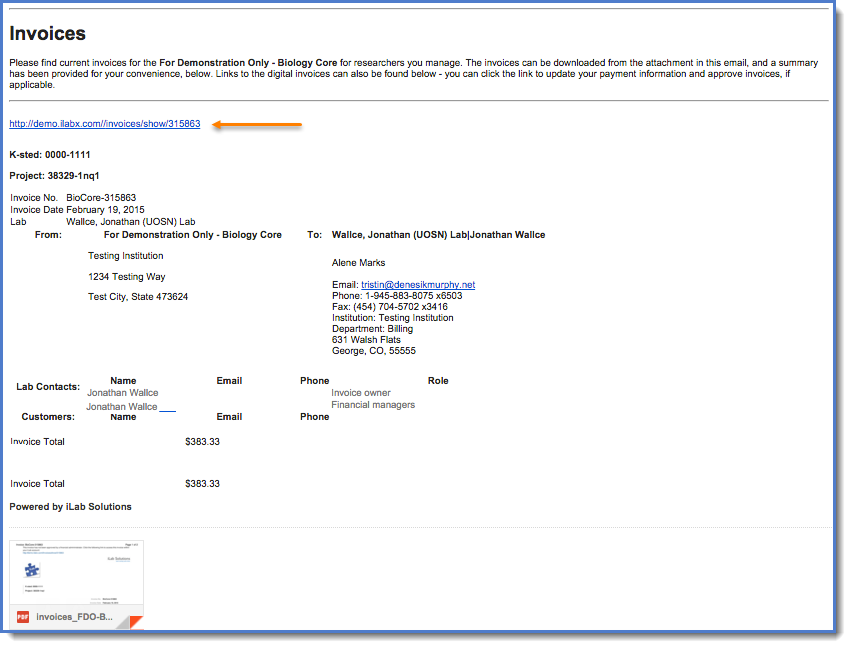 Figure 1: You can click the link toward the top of the page to access the invoice.