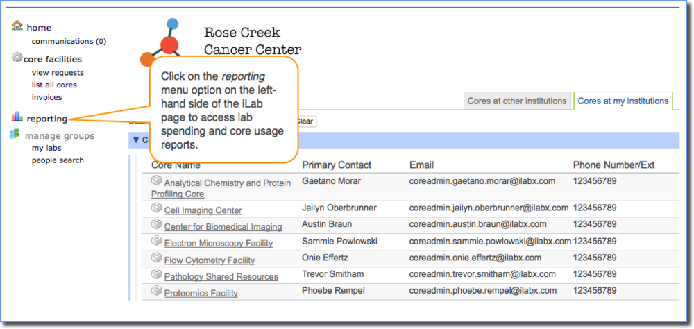 Figure 1:  You may access iLab reports by clicking the reporting link.