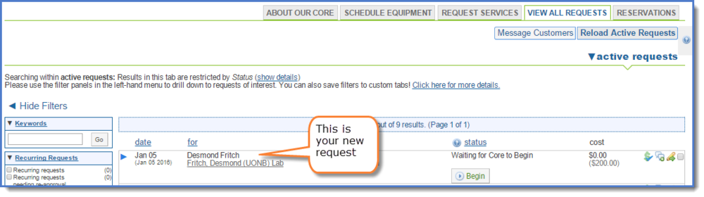 Figure 6: Your new request displays.