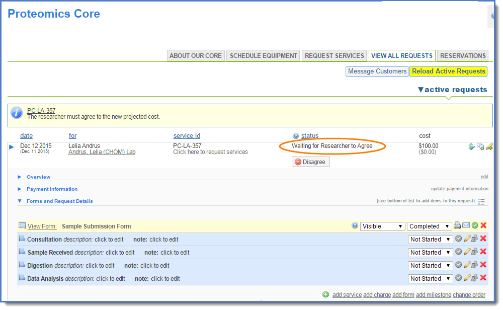 Figure 5:When you click submit, the status of the request will change to Waiting for Researcher to Agree.