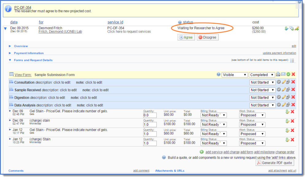 Figure 12: The new status of the request now displays.