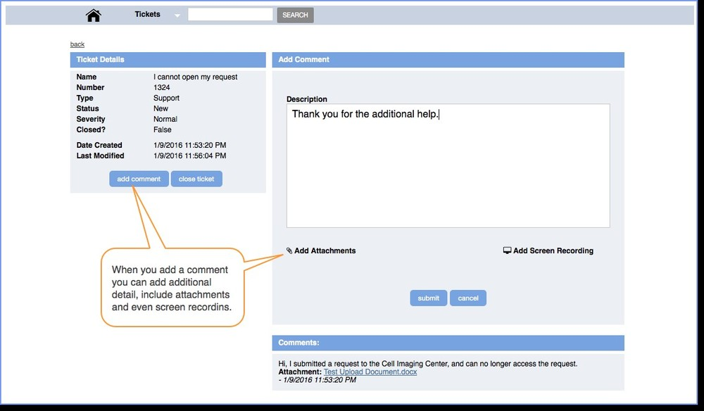 Figure 4 : Add details, attachments and recordings.