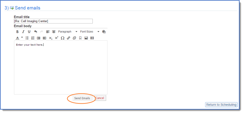 Figure 6: Compose your email and click Send Emails. A confirmation approval window displays. Click OK. (Figure 7)