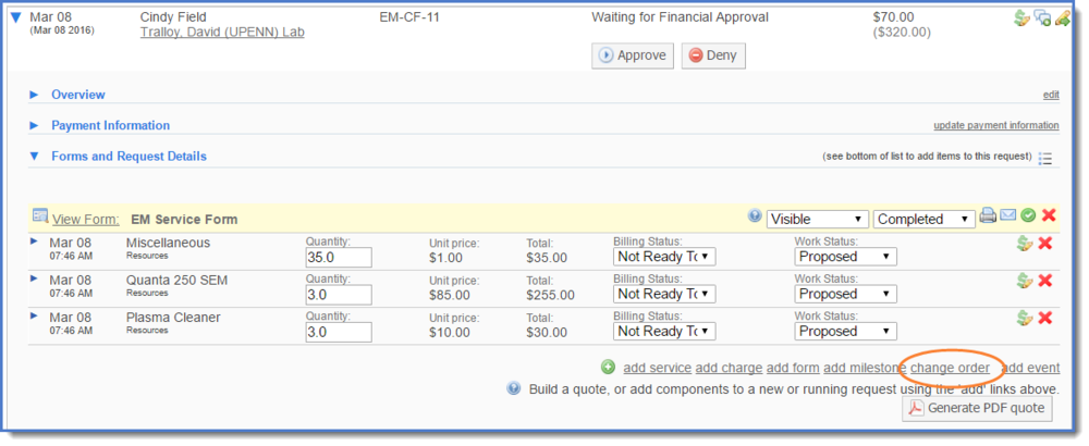 Figure 1: Change order button