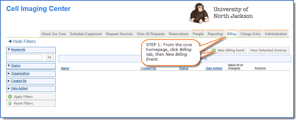 Figure 1 : Click on  New   Billing Event