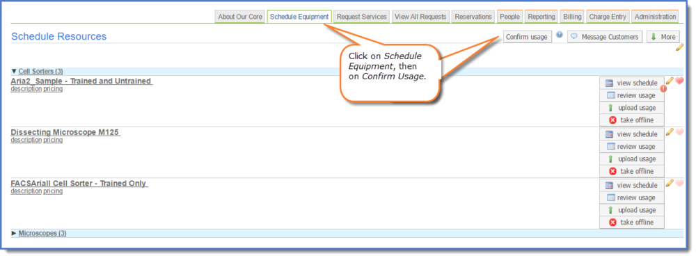 Figure 1: Confirm resource usage across multiple schedules by clicking the Confirm usage button.