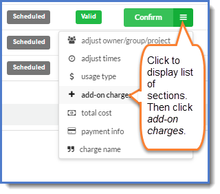 Figure 1: Click add-on charges.