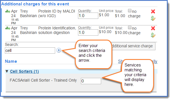 Figure 3:  Enter the name of the service and click  search.