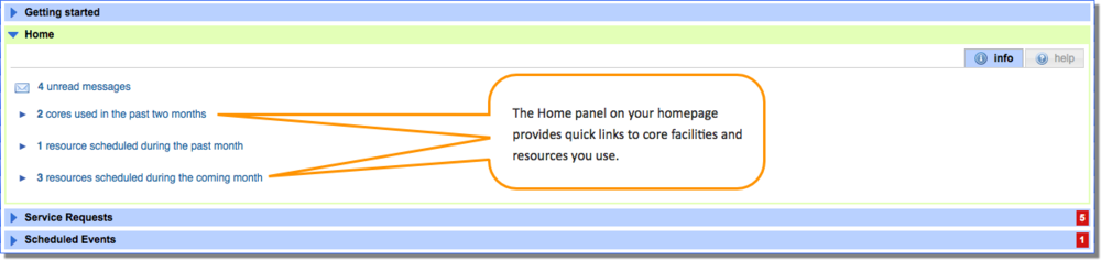 Figure 1: Home Panel provides quick links to core facilities and resources.