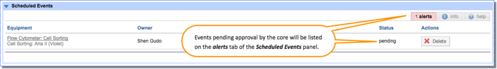 Figure 4: The alerts panel lists any reservations that are currently pending approval by the core.