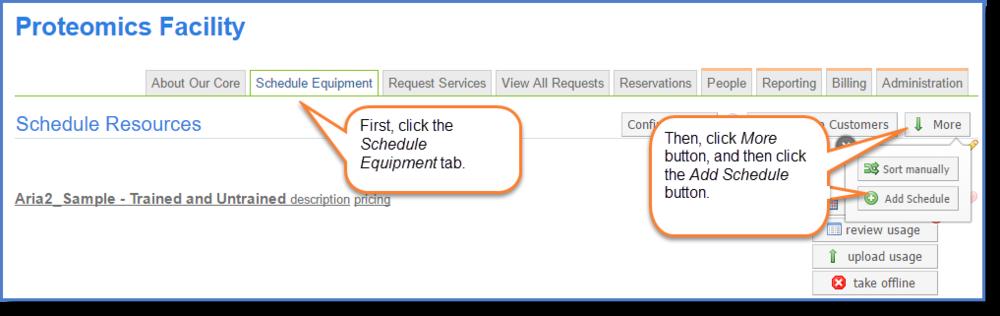 Figure 1: Access the Add schedule tool.