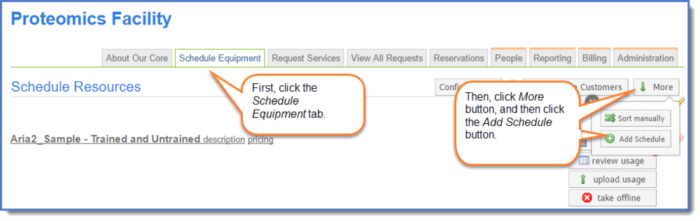 Figure 1: Access the Add schedule tool.