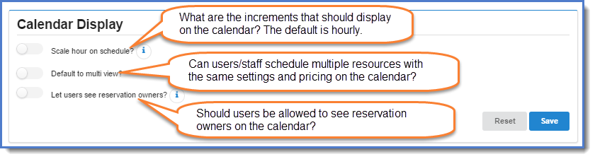 Figure 3: Define how the calendar should display.