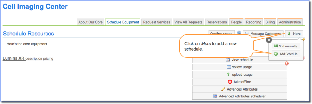 Figure 1 : Adding a new schedule.