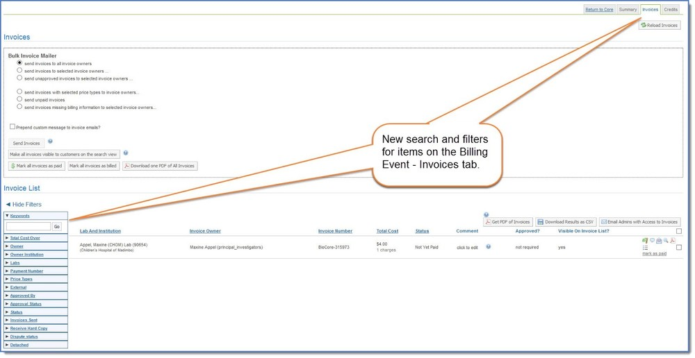 Figure 2: Search and filter on billing events.