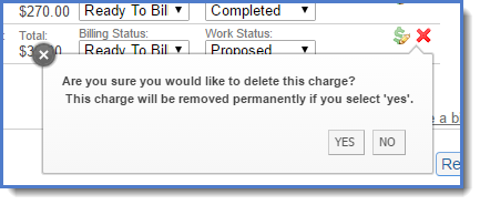 Figure 3 : Deleting a charge.