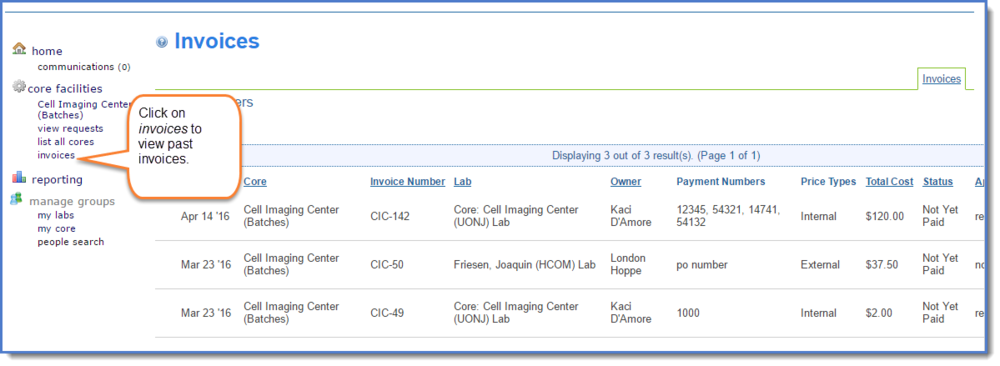 Figure 1: Invoices link