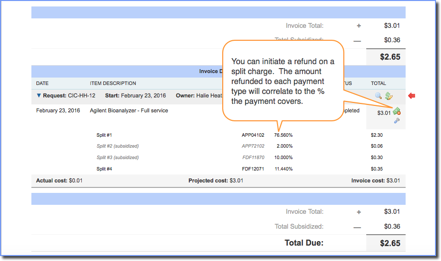 Figure 3:  Initiating a refund with split charges.