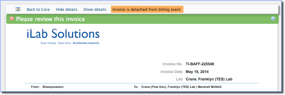 Figure 5:  Text will identify that this invoice has been detached.
