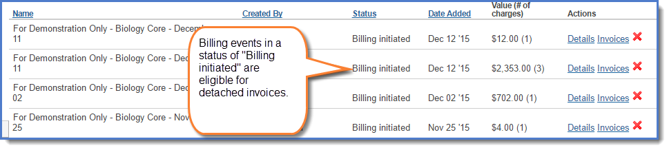 Figure 1:  Access invoices from the  Billing  tab