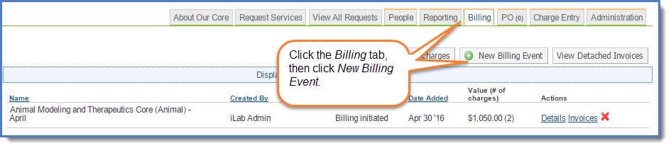 Figure 1 :  Billing  tab.