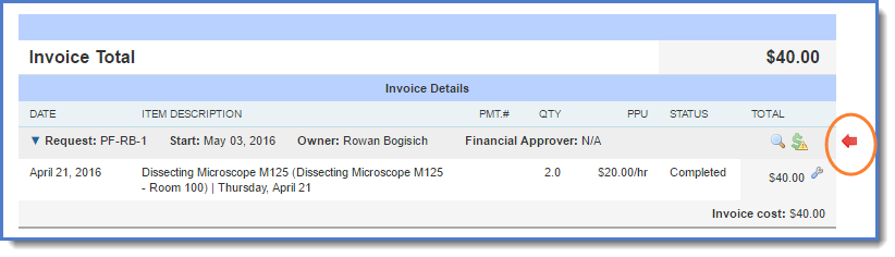 Figure 3 : Red arrow displays beside the invoice that needs corrections.