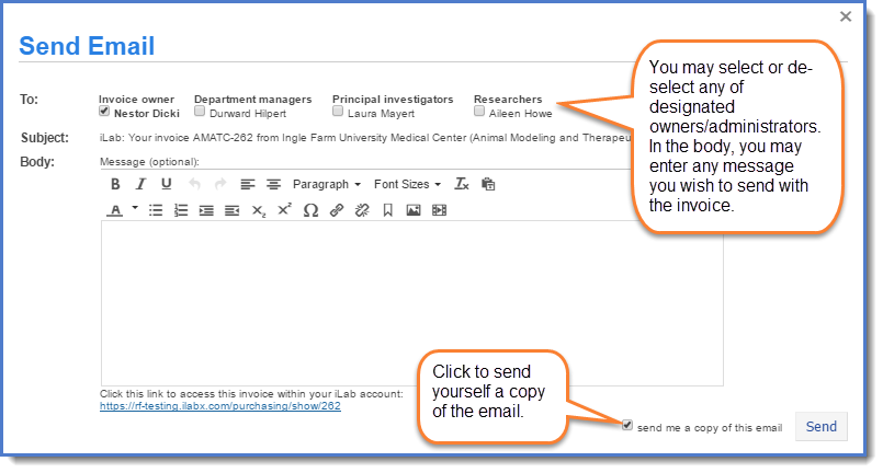 Figure 2: Email window.