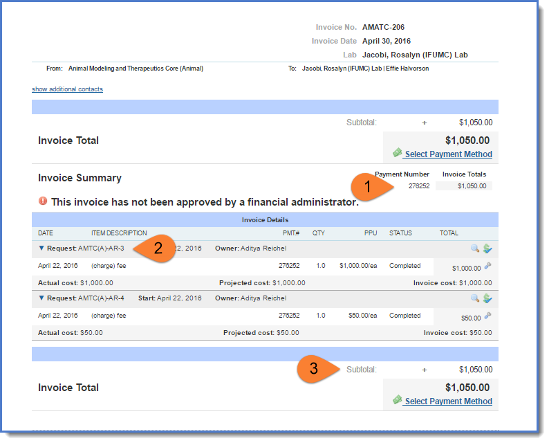 Figure 5: Invoice display